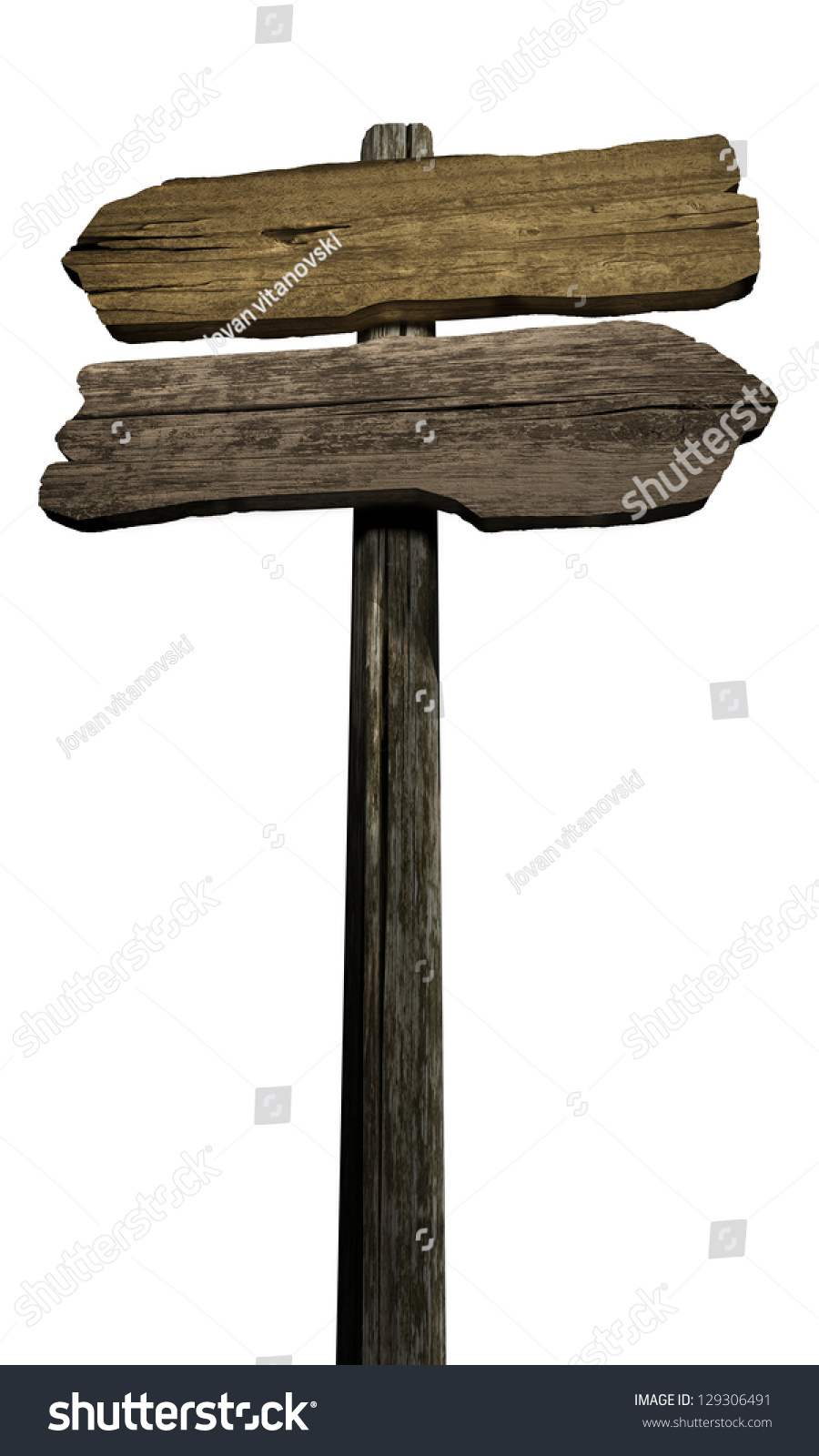 Blank Old Directional Road Wood Sign Post Over Pies Of ...