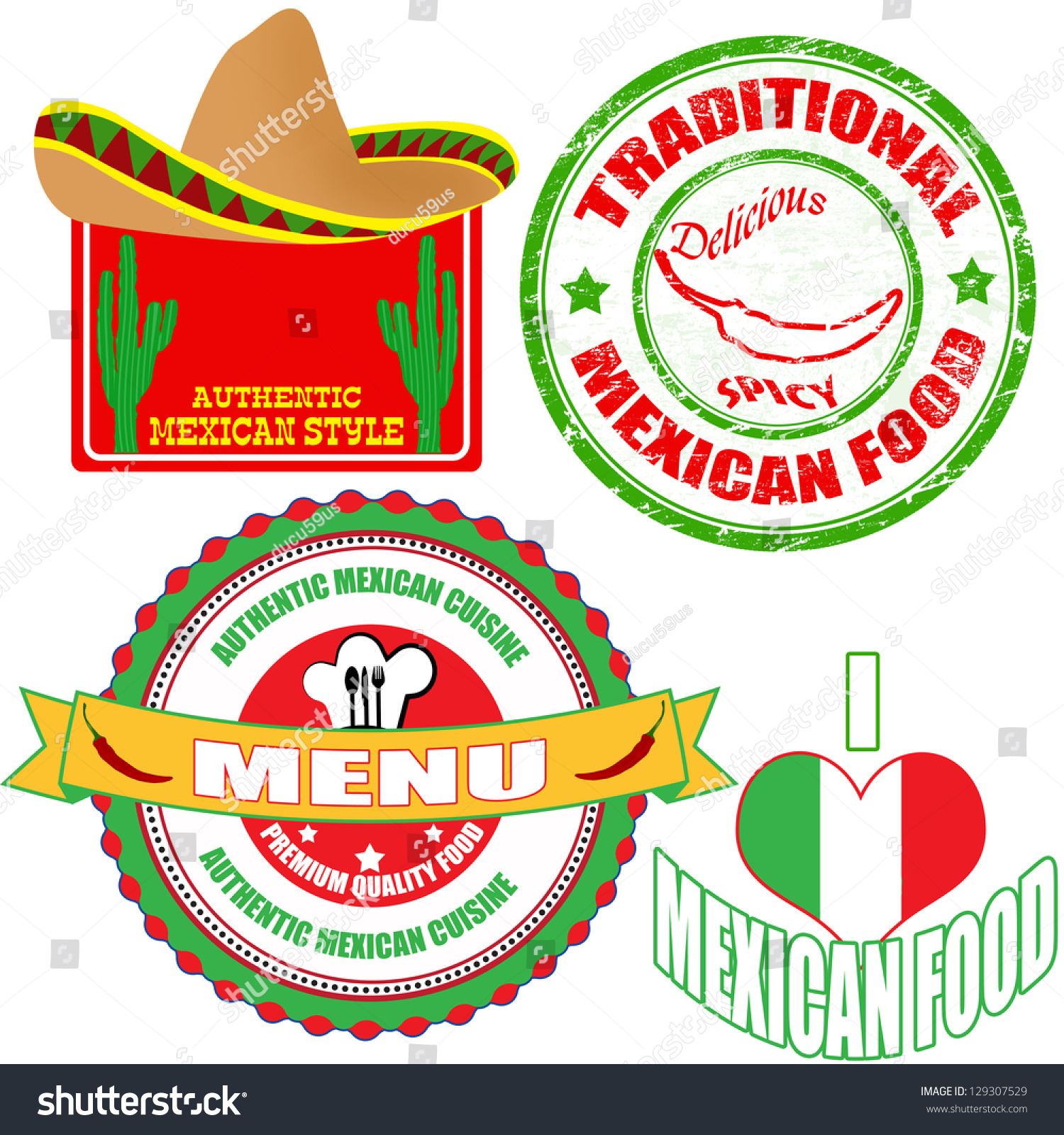 Italian Restaurant Logo With Flag: Set Authentic Mexican Food Stamp Labels Stock Vector