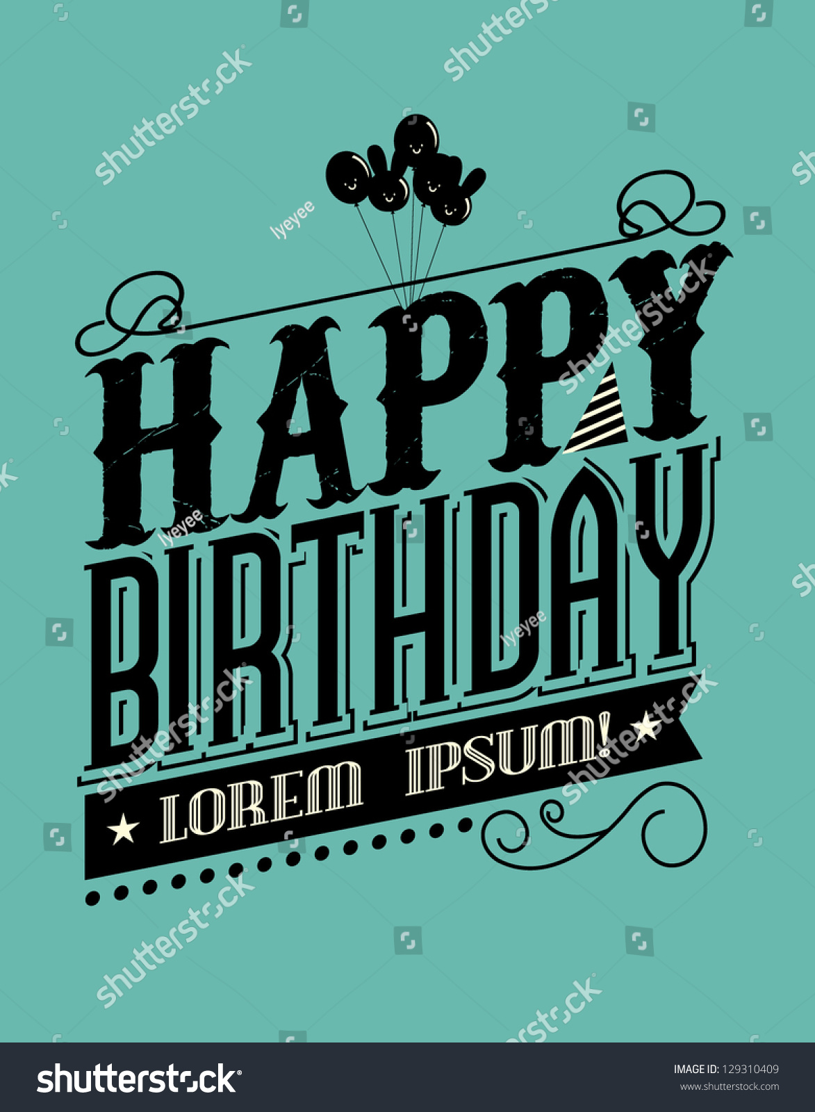 Birthday Typography Template Vectorillustration Stock Vektor ...