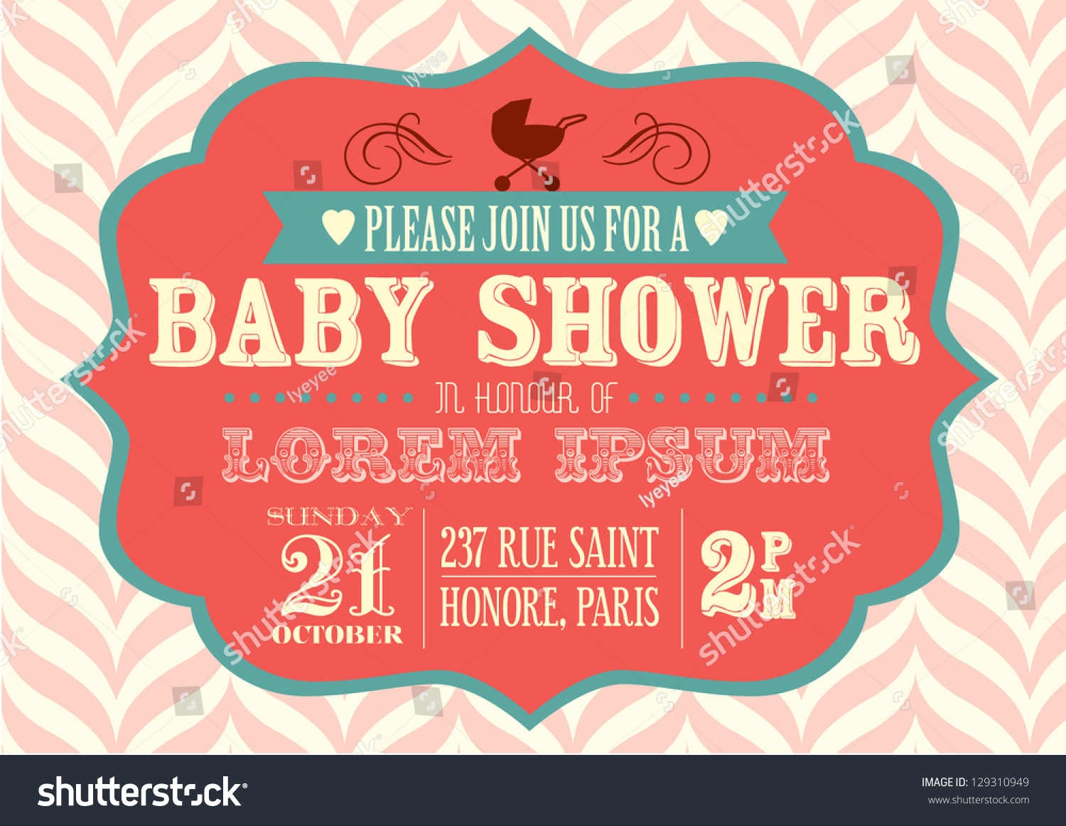 Baby Shower Invitation Template Vectorillustration Vector – Editable Baby Shower Invitations