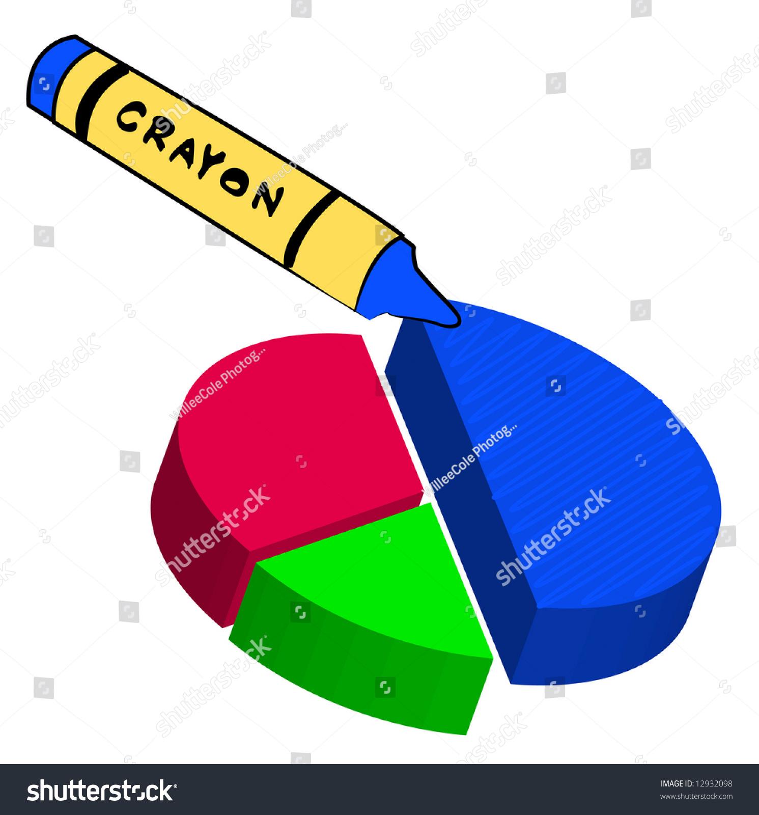 Crayon Colored Circle : Blue wax crayon filling in circle graph stock photo