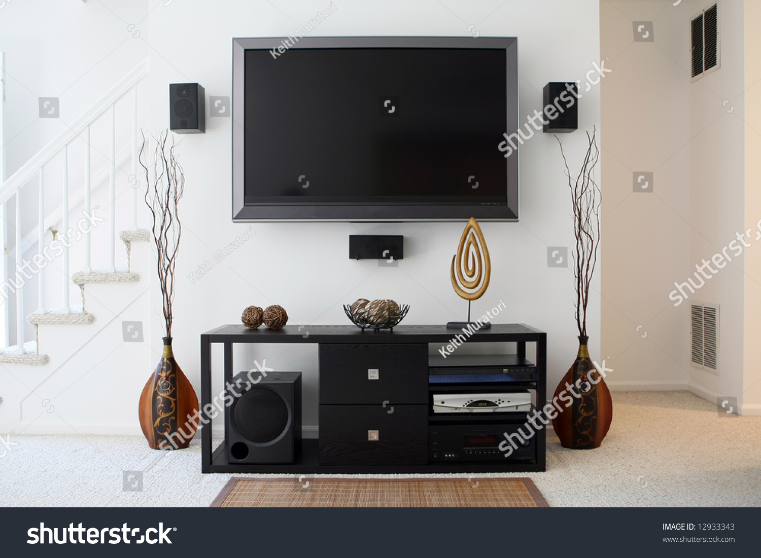 Home theater in living room stock photo 12933343 shutterstock - Living room home theater ...