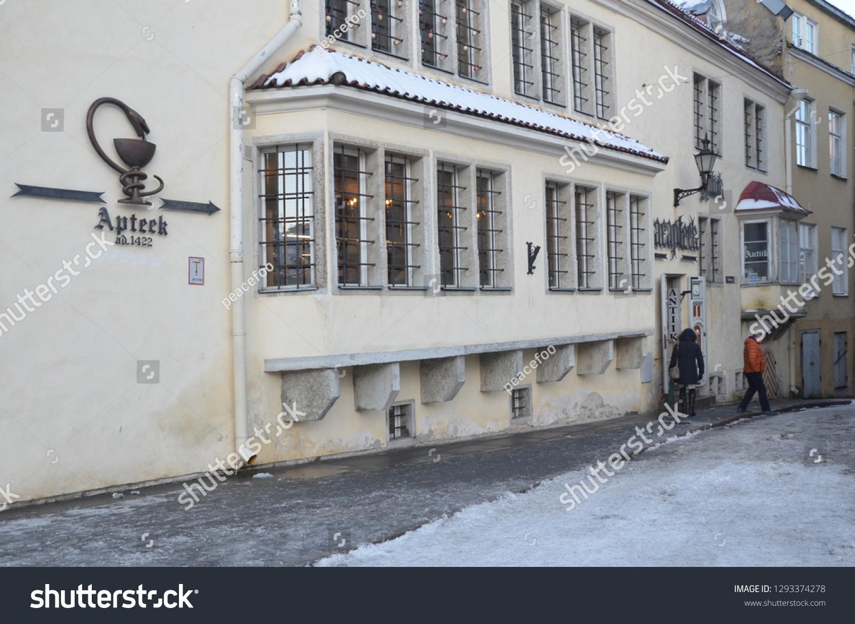 Tallinnestonia_18 Jan 2019 Raeapteek Oldest Town Stock Photo