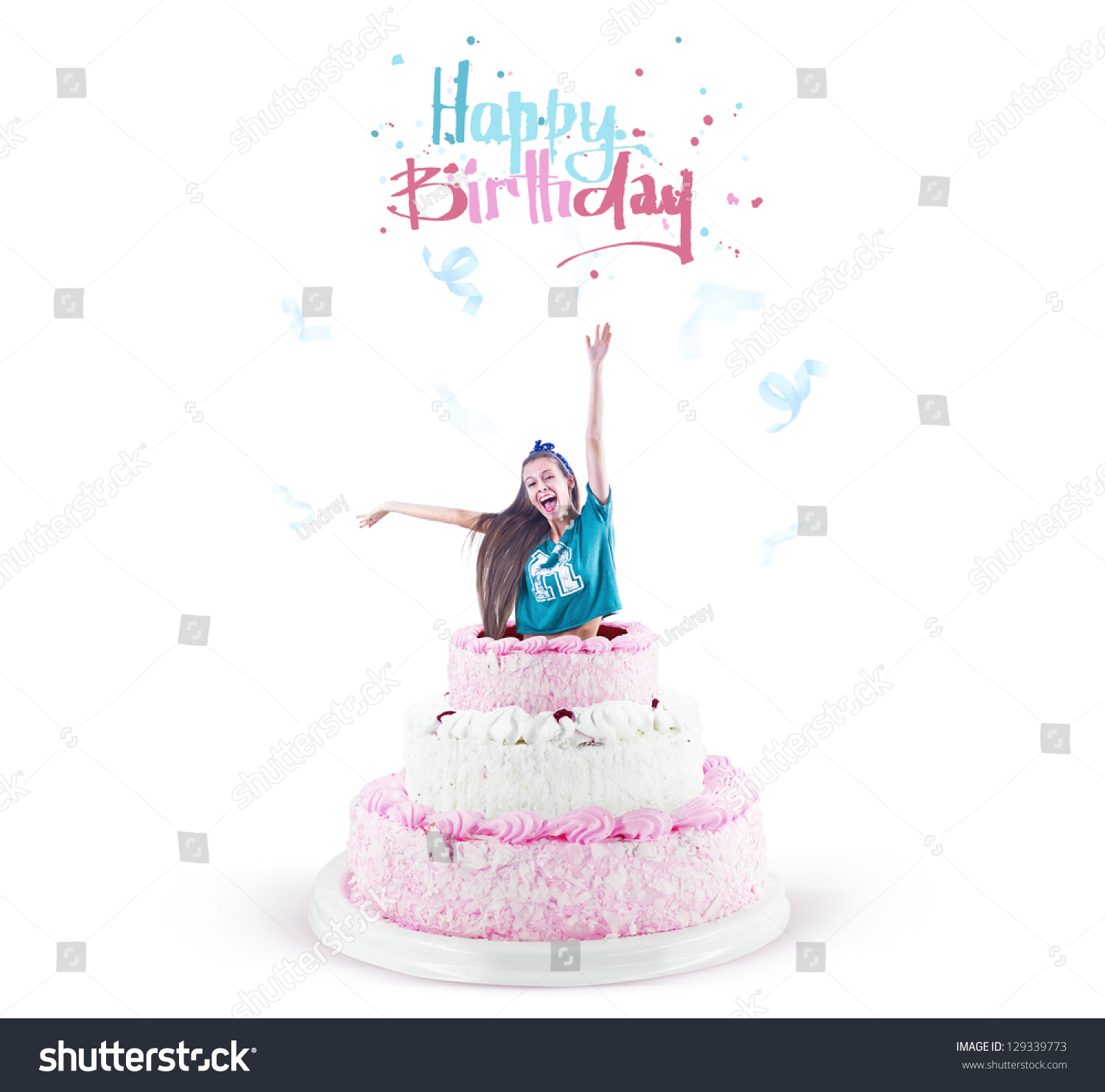 Young Pretty Girl Jump Out Large Stock Photo 129339773