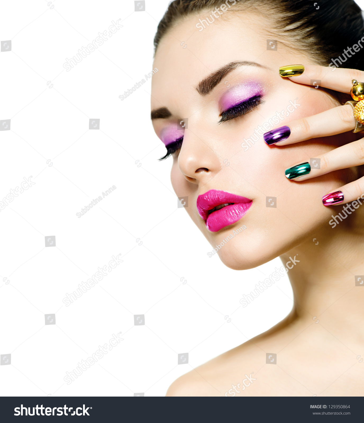 Fashion Beauty Manicure Makeup Nail Art Stock Photo 129350864 Shutterstock