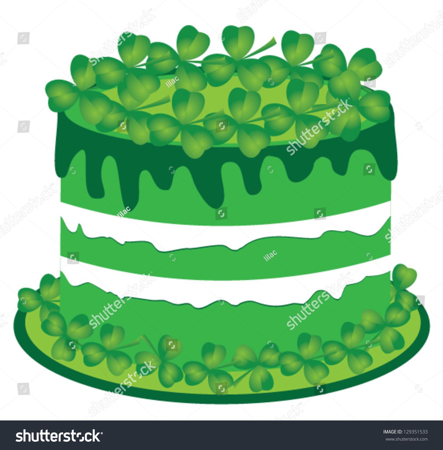 Awe Inspiring Vector Green Cake Shamrock St Valentine Stock Vector Royalty Free Birthday Cards Printable Trancafe Filternl