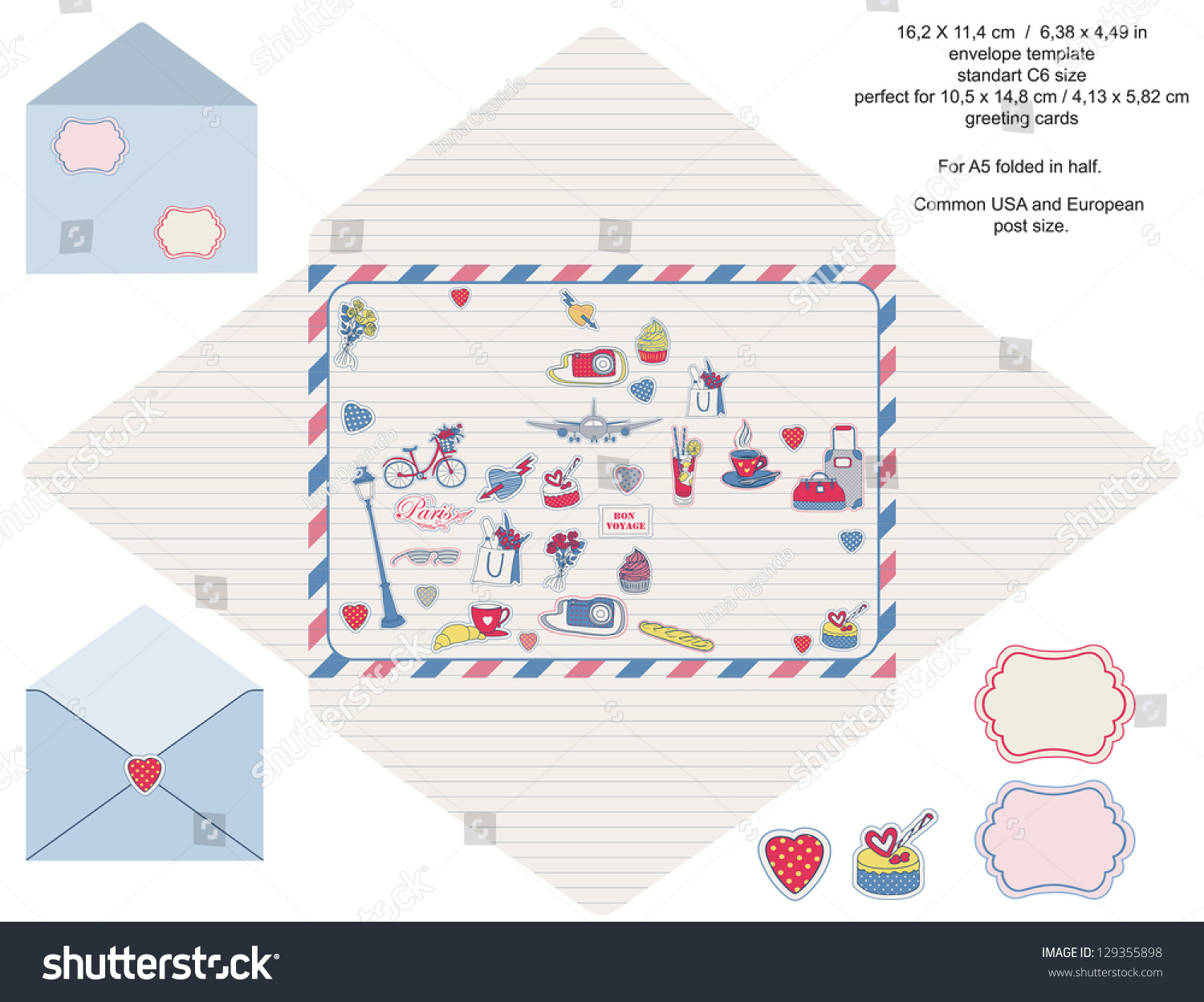 envelope designer template paris travel related icons blank label included isolated stock. Black Bedroom Furniture Sets. Home Design Ideas