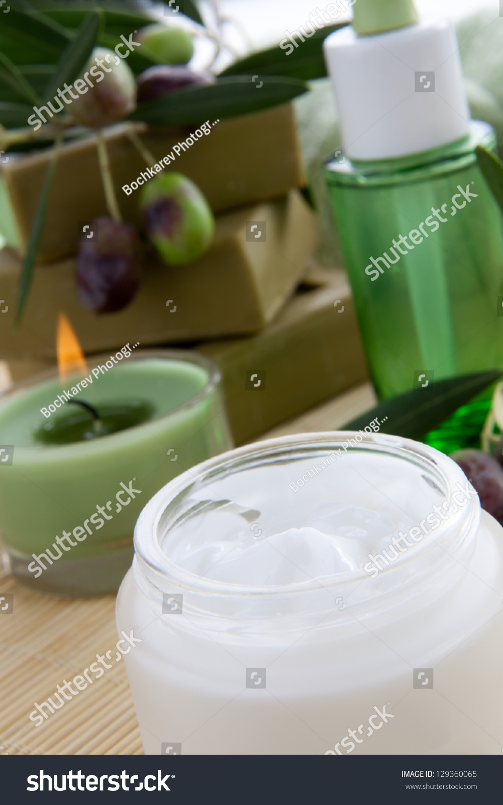 Fancy face cream with olive soap bars olive oil and for Spa smelling candles
