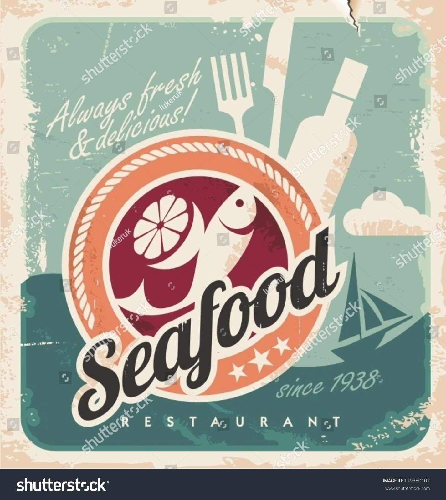 Vintage poster seafood restaurant retro paper stock vector for Fish in a bottle menu