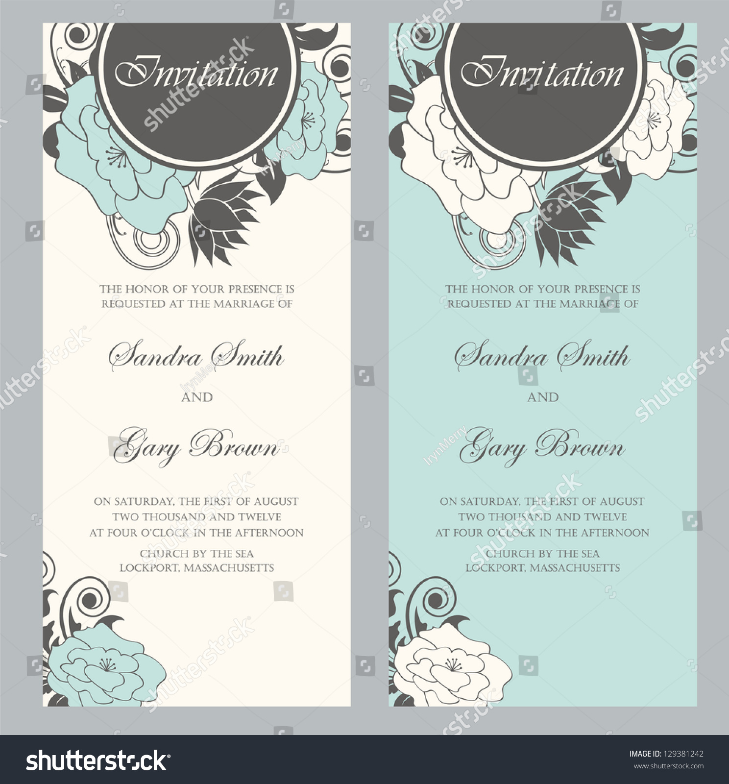Beautiful Floral Wedding Invitations Vector Illustration Stock