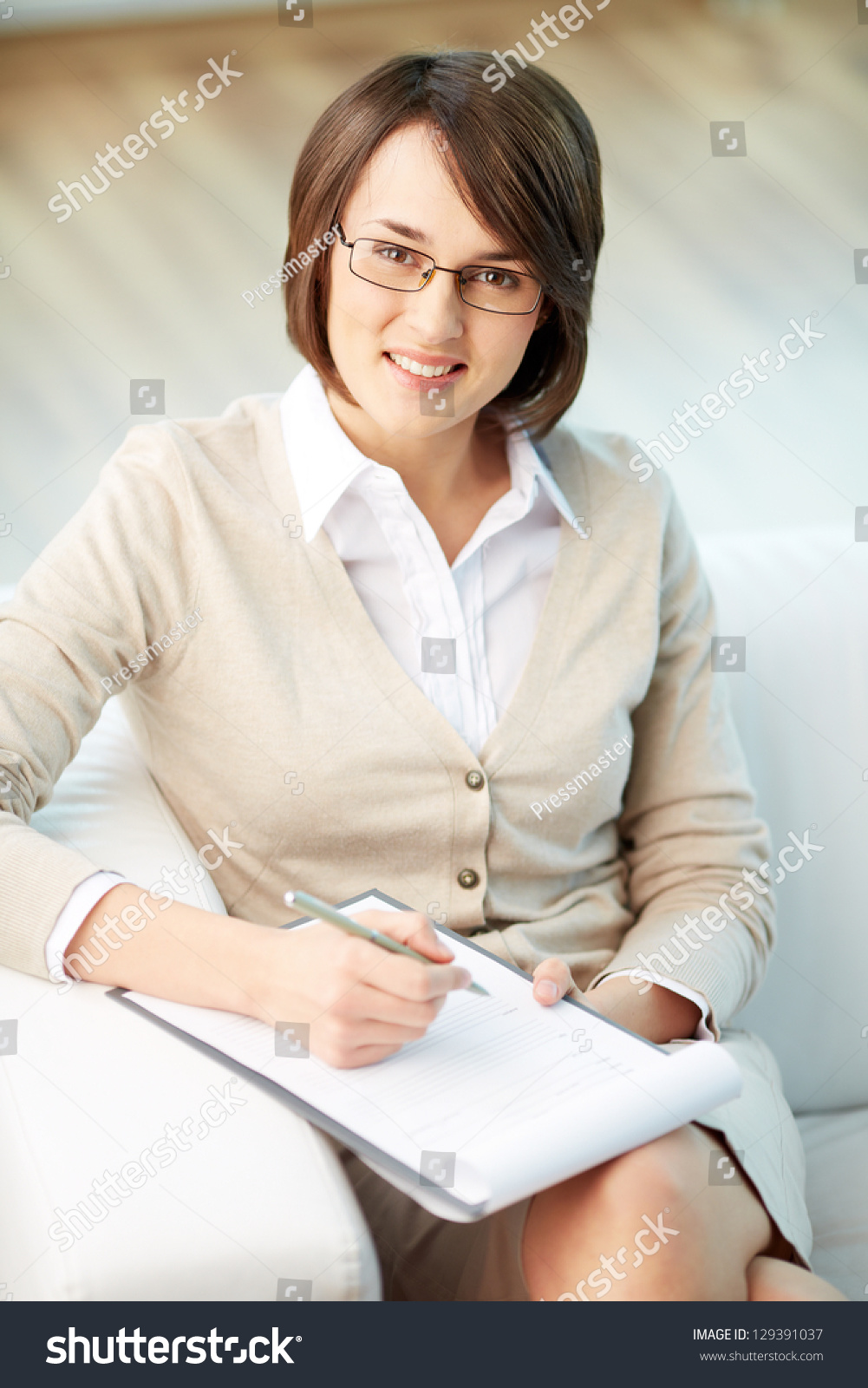 Vertical Portrait Of Pretty 14 Year Old Girl Stock Image: Vertical Portrait Of A Successful Psychologist Or A