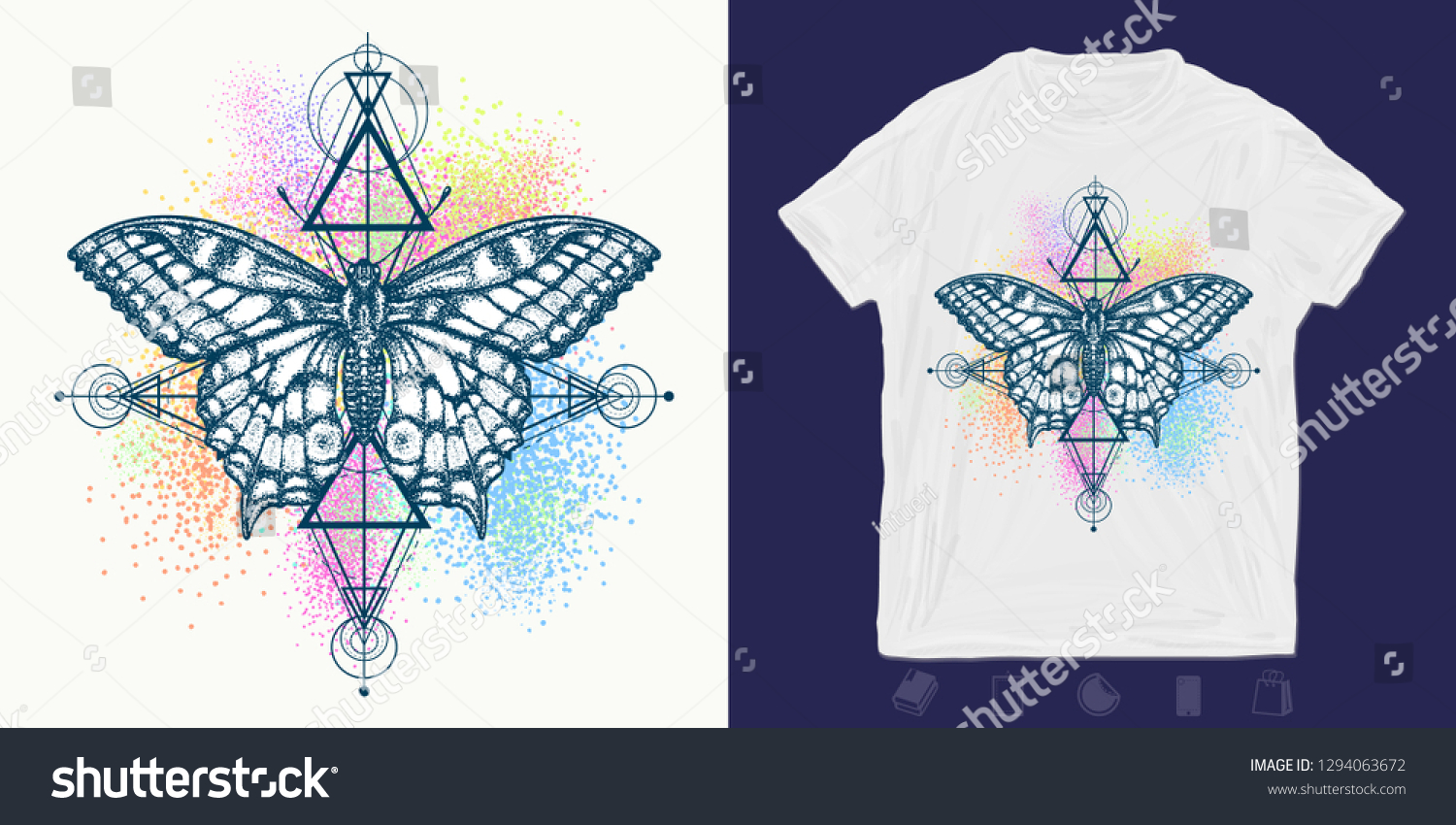 ea051c734 Butterfly Color Splashes Print Tshirts Another Stock Vector (Royalty ...