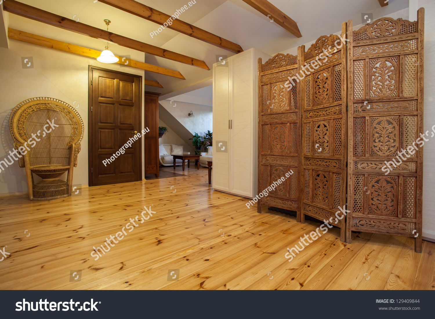 Cloudy home wooden beautiful openwork screen stock photo