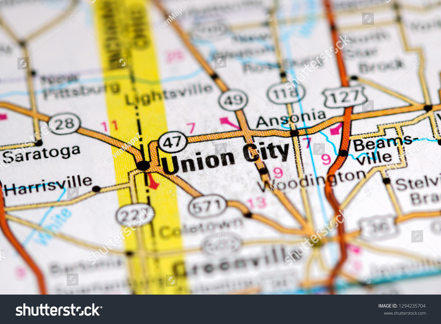 Union Ohio Map.Union City Ohio Usa On Map Stock Photo Edit Now 1294235704