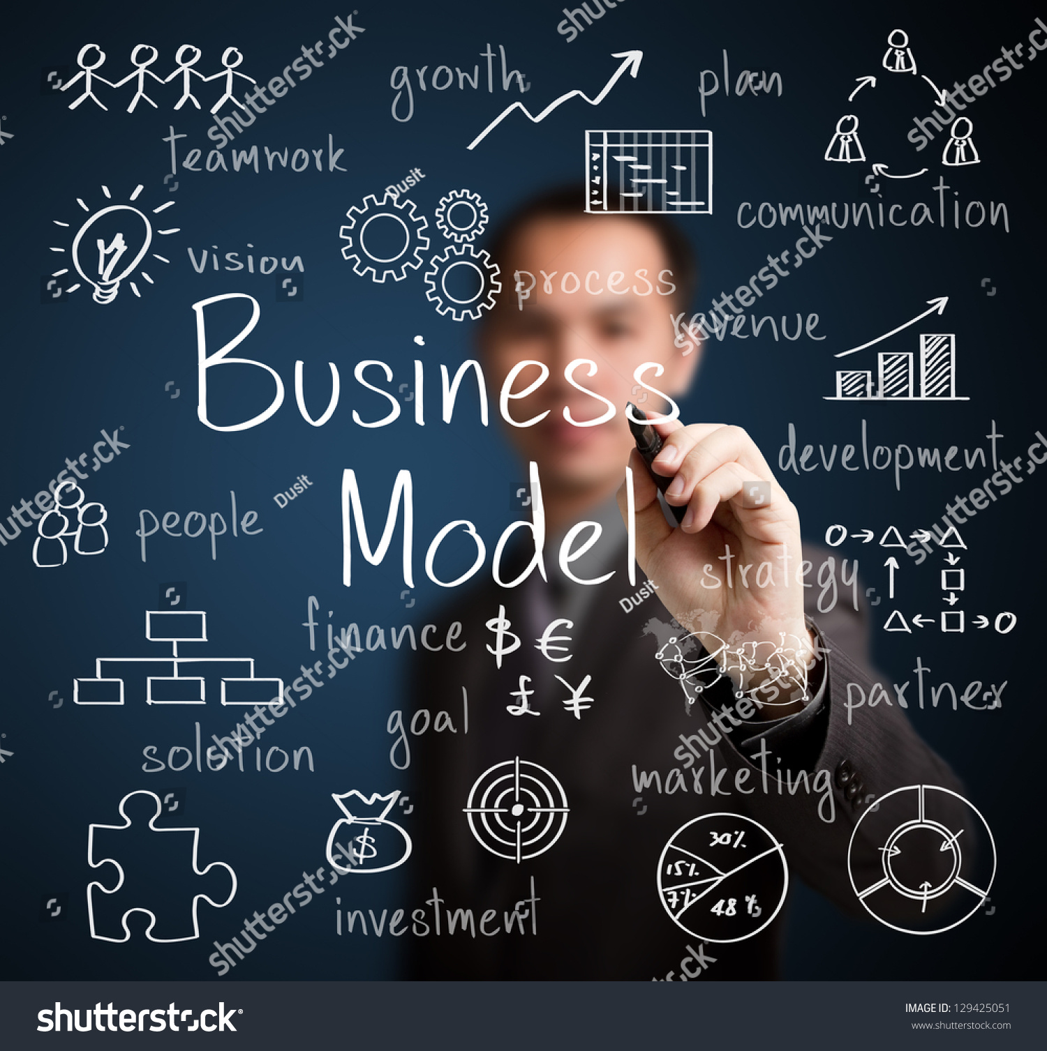 Business: Business Man Writing Business Model Concept Stock Photo