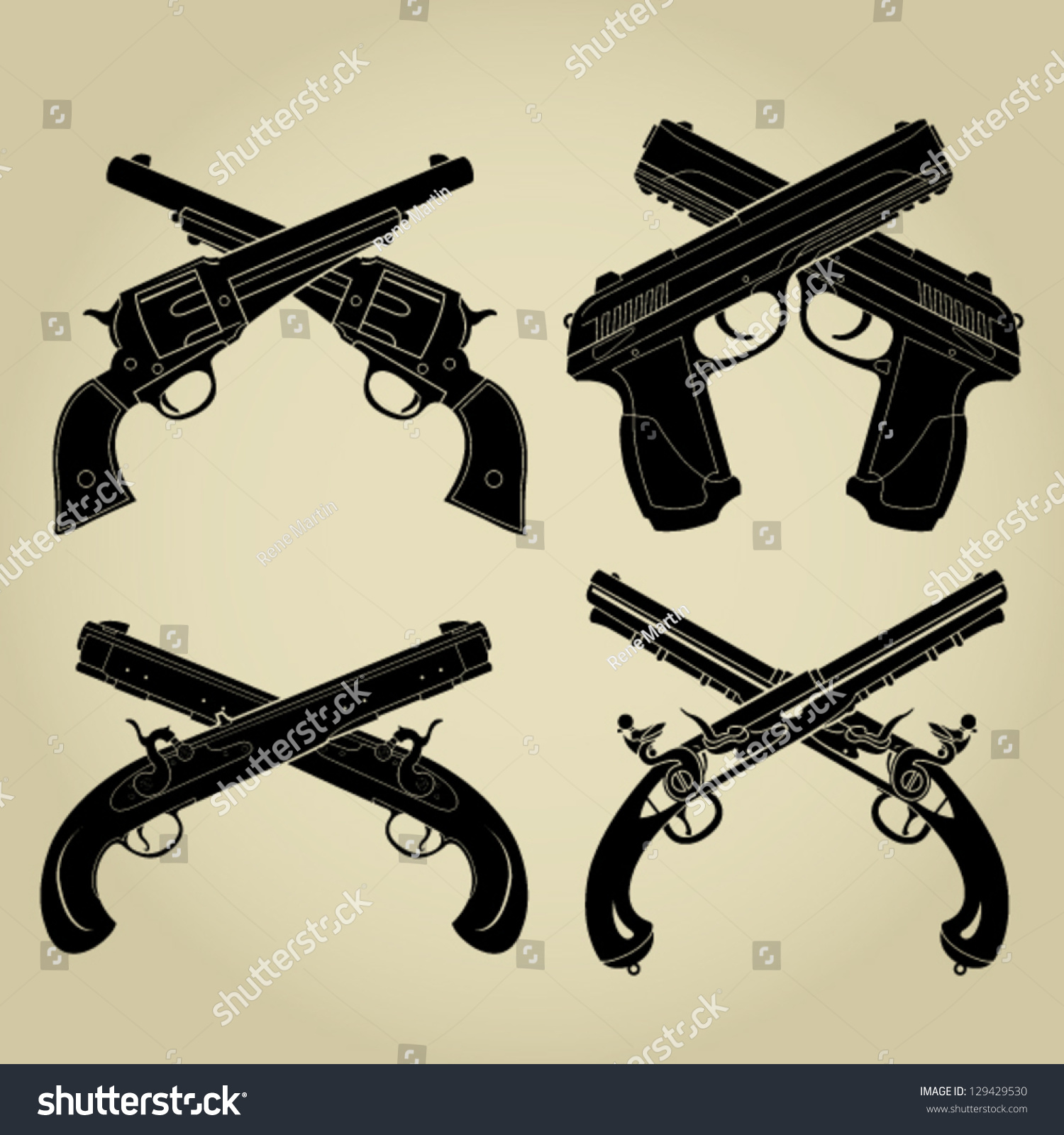Crossed Pistols Evolution Silhouettes - 478.2KB