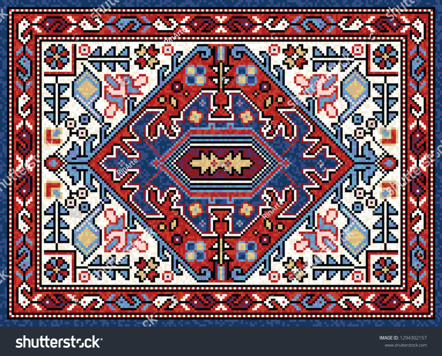 Colorful Oriental Mosaic Rug Traditional Geometric Stock