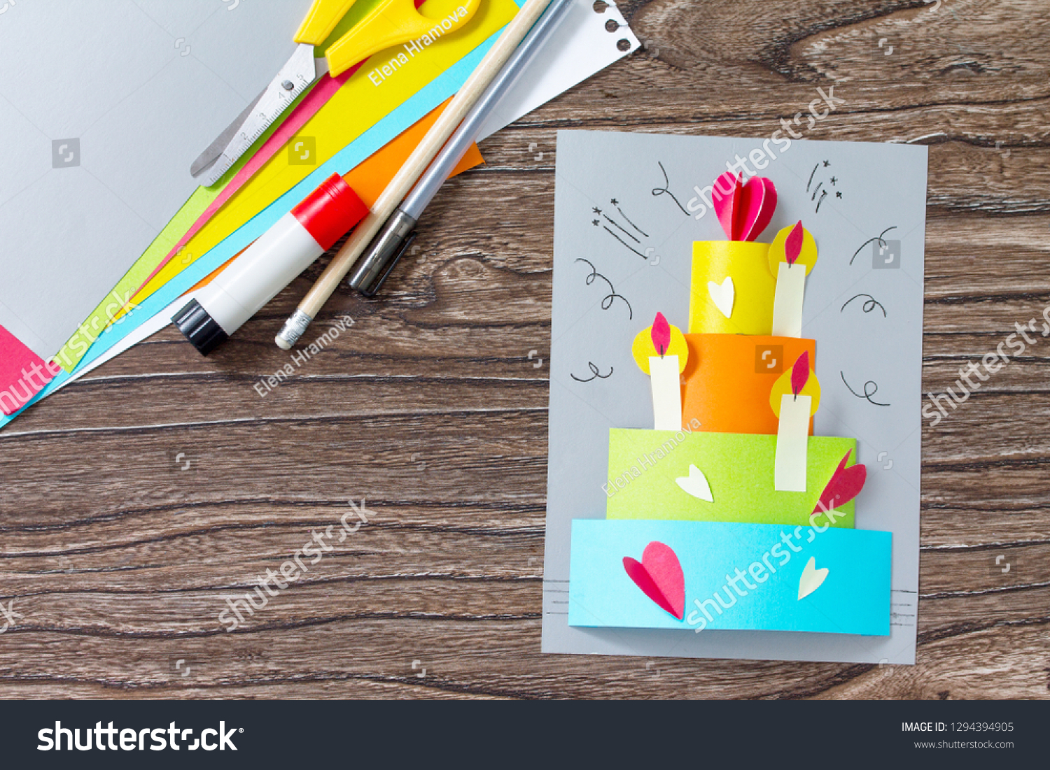Greeting Card With Birthday Cake Congratulation On A Wooden Table Childrens Art Project Craft For