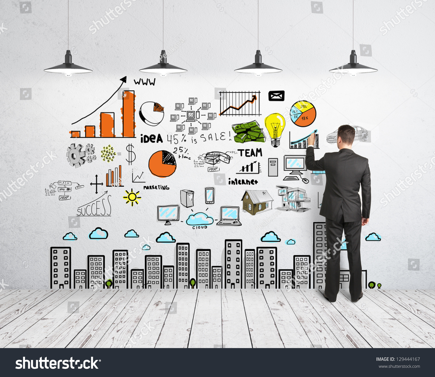 Businessman Drawing Business Concept On Wall Stock Photo 129444167 ...