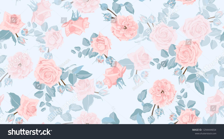 Pastel Floral Pattern Vintage Pink Roses Stock Vector Royalty