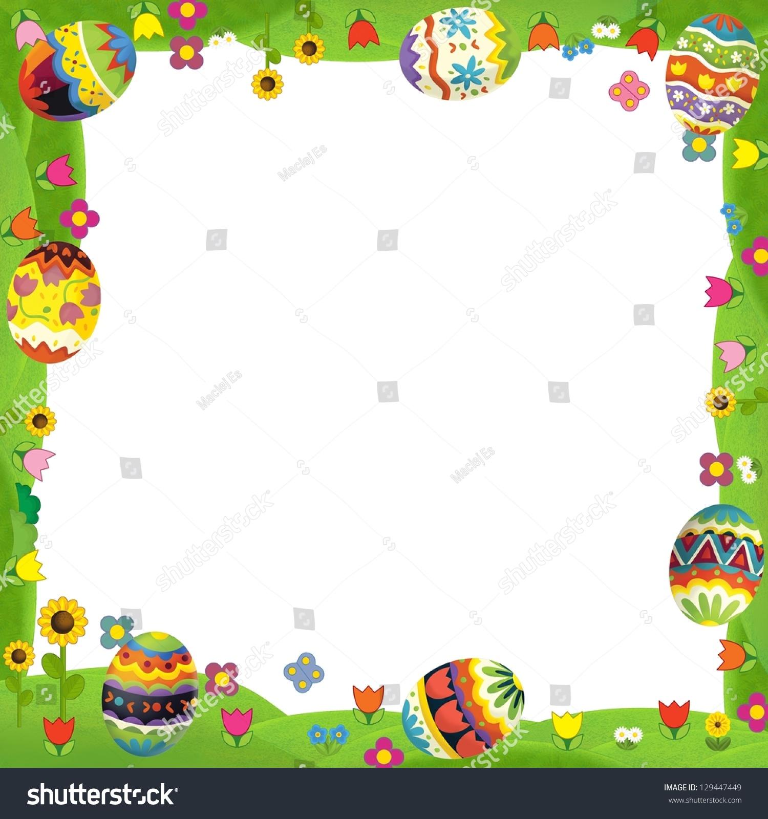 Happy Easter Frame Illustration Children Stock Illustration ...