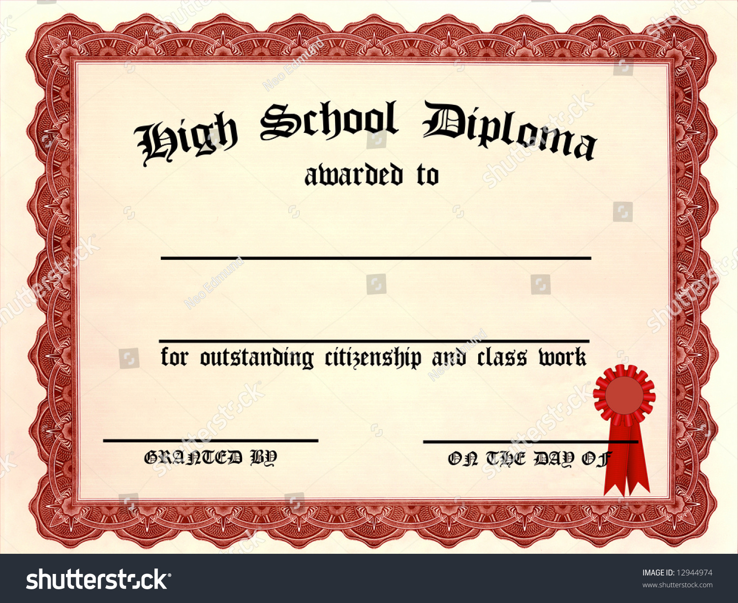 High School Diploma Blank Lines Stock Illustration 12944974 ...