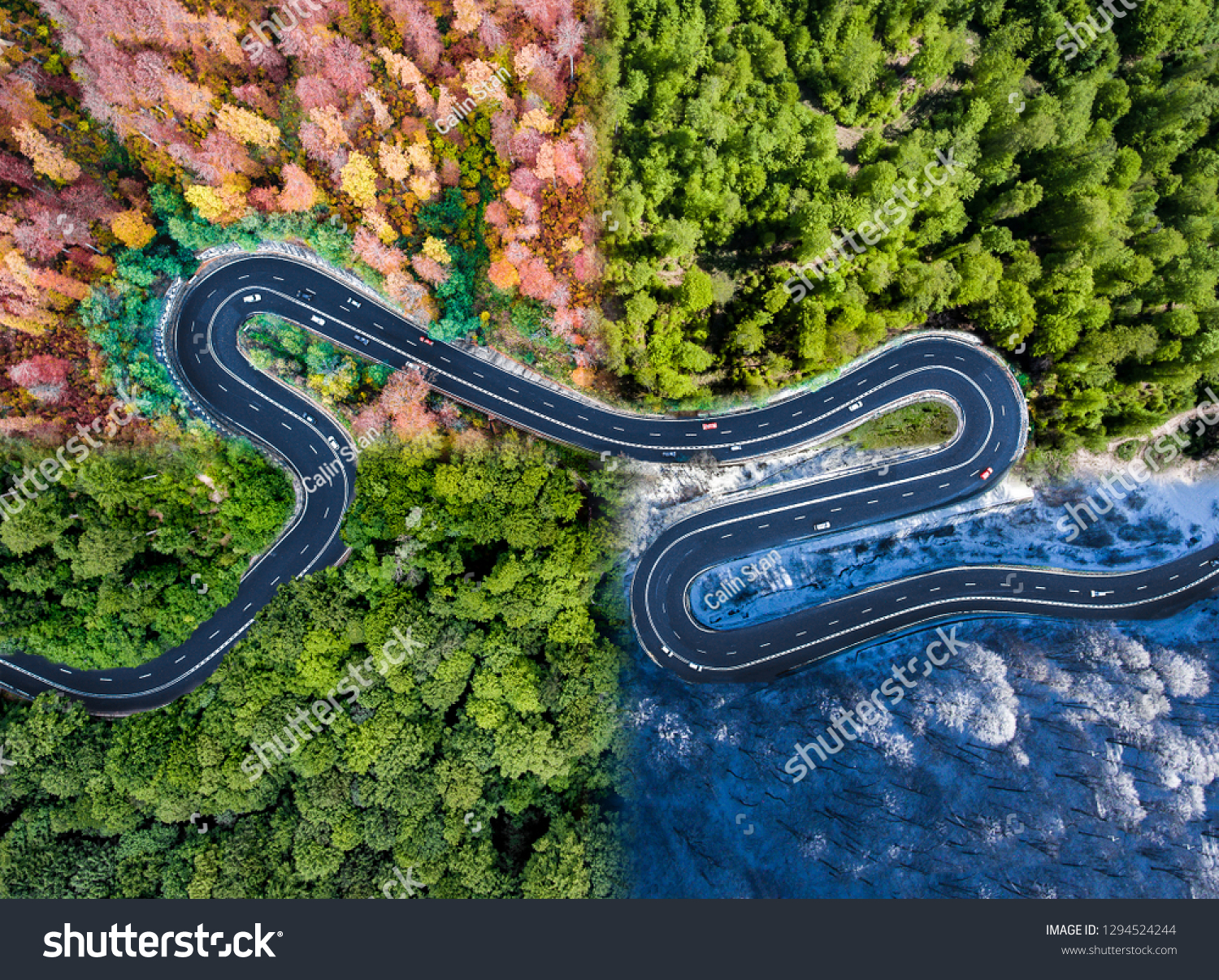 Winding road in all four seasons. Aerial view of a curved highway trough the forest. Composite drone roadway weather image of a hairpin turn #1294524244