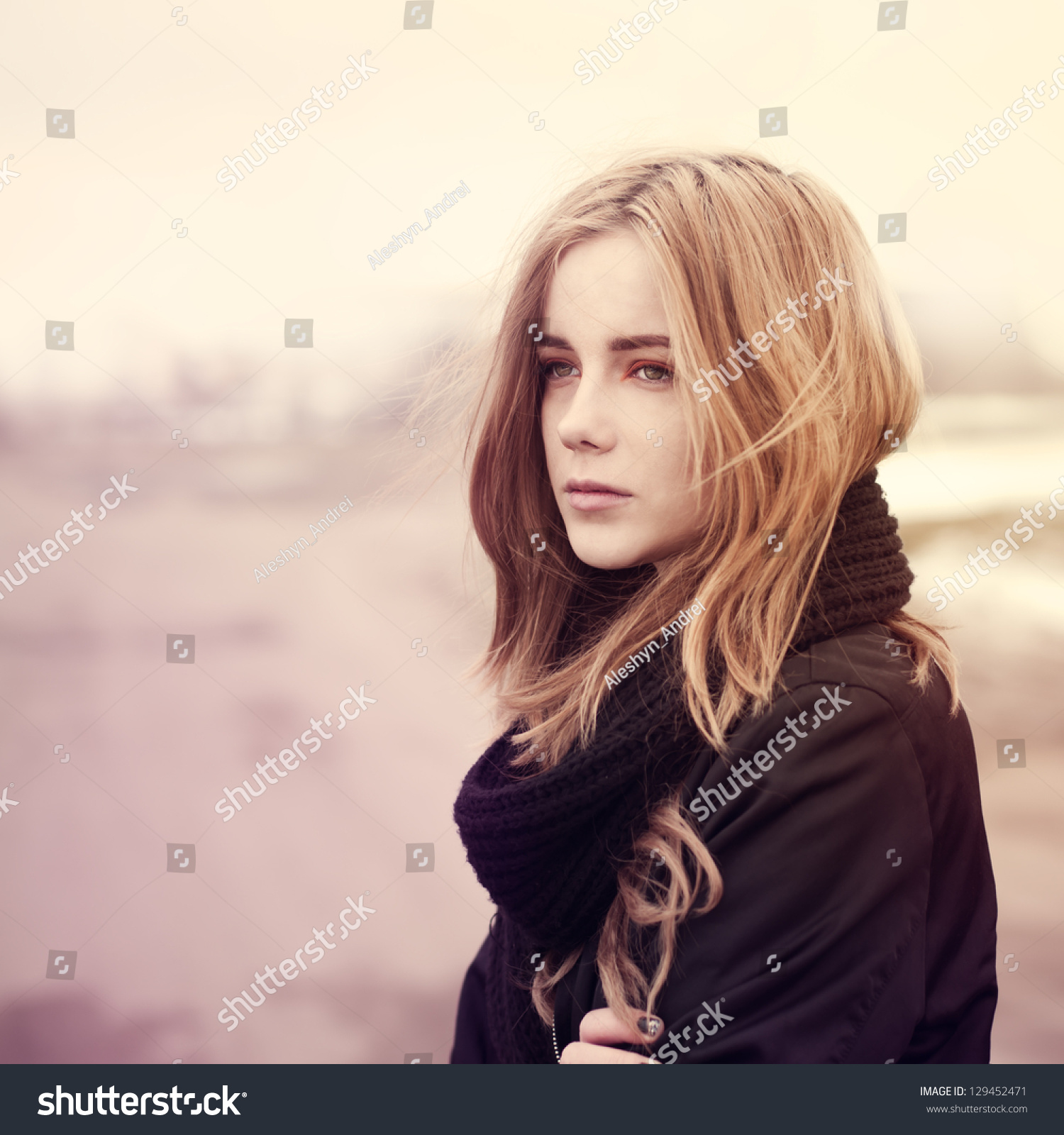 Beautiful Young Girl Standing On Road Stock Photo