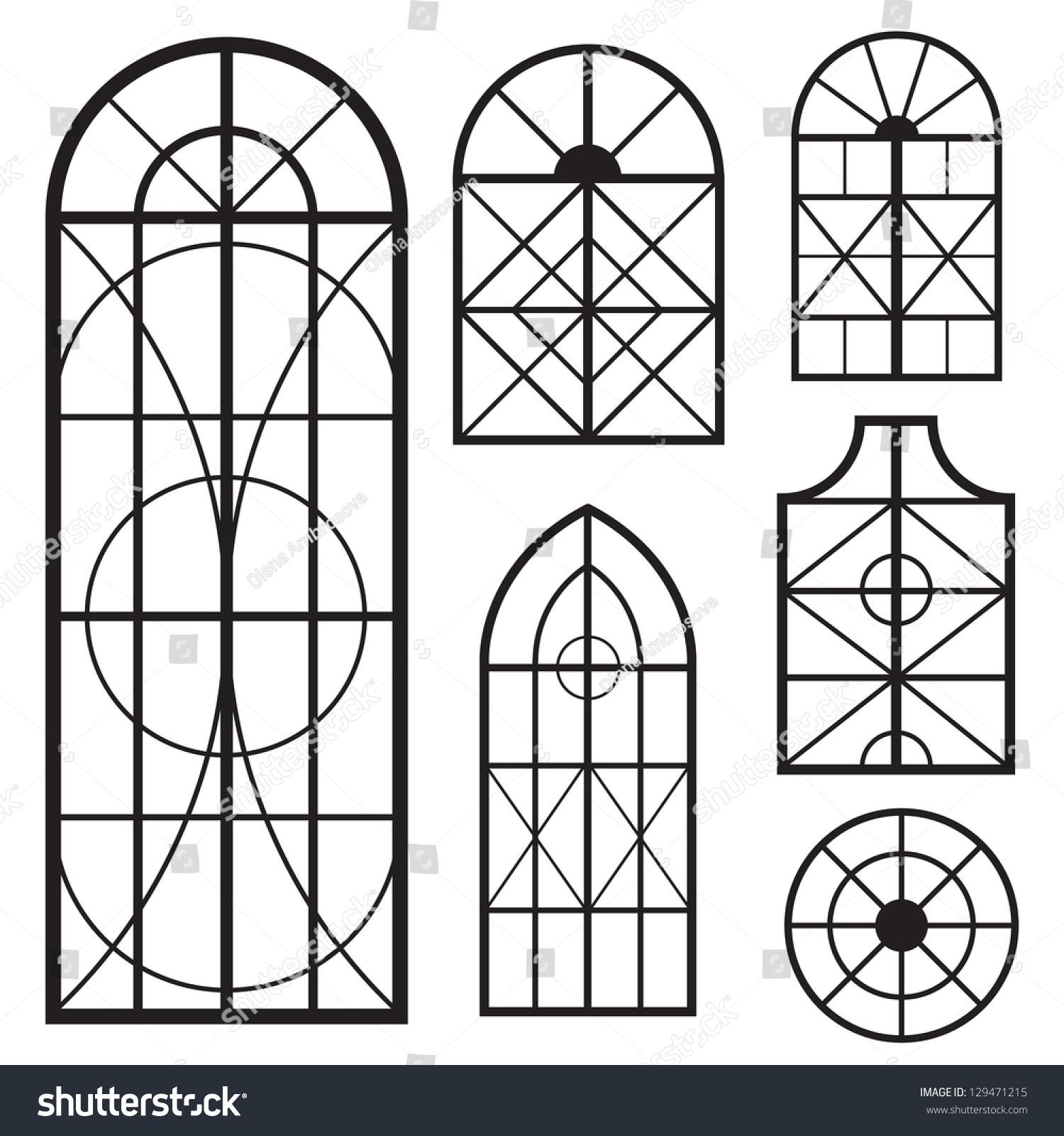 Set Various Window Shapes Stock Vector 129471215 - Shutterstock