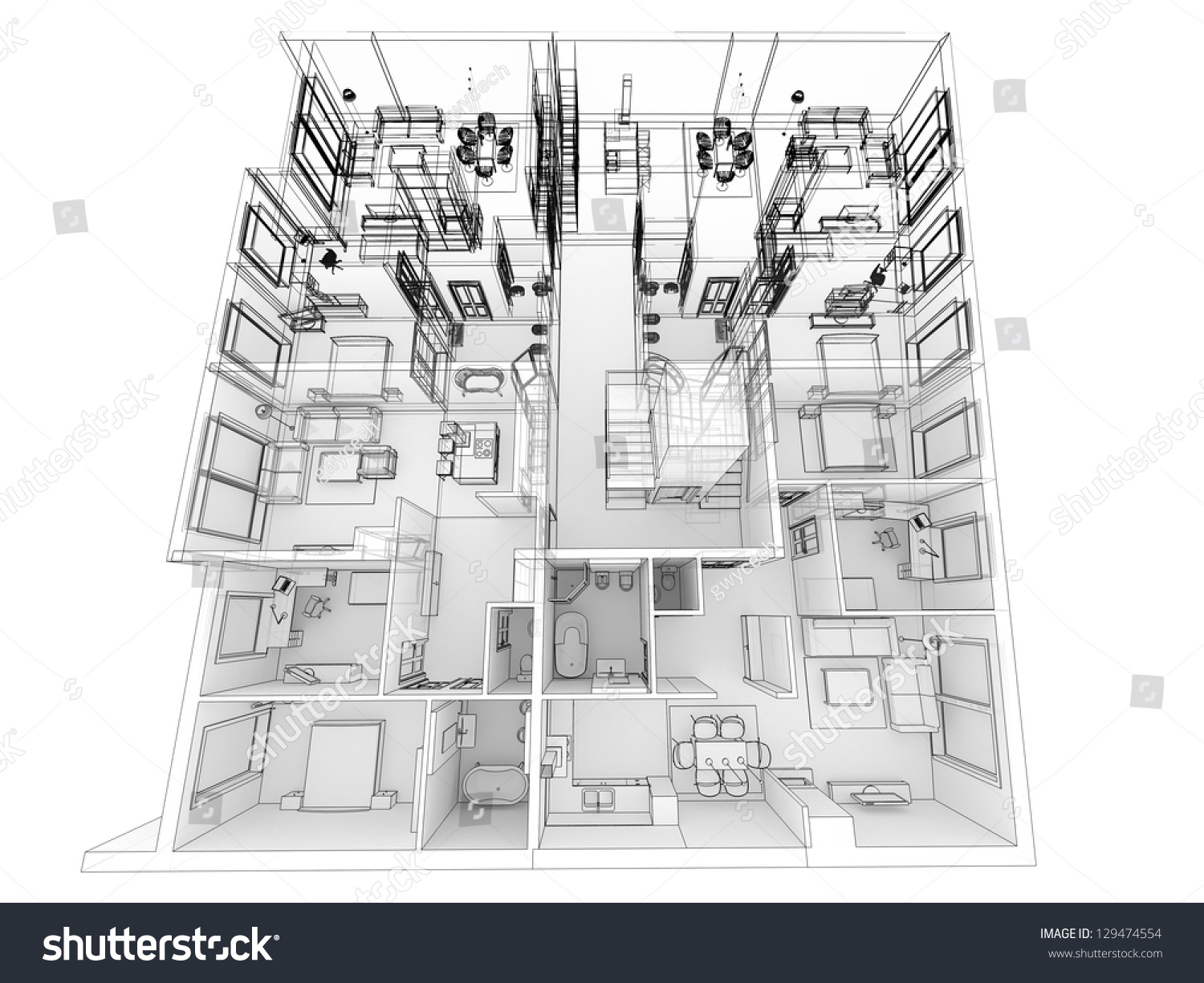 Apartments Level Top View Building Design Stock Illustration Apartment Wiring Diagram Process In Wire Frame