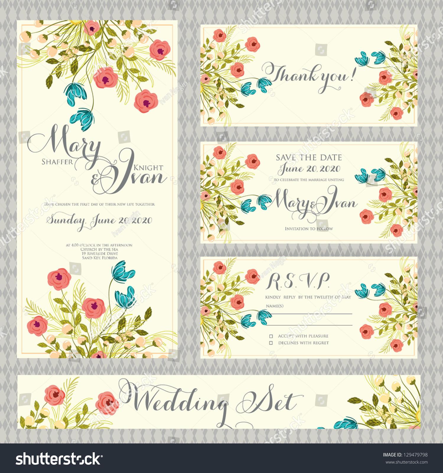 Wedding invitation thank you card save em vetor stock 129479798 wedding invitation thank you card save the date cards wedding set rsvp stopboris Choice Image