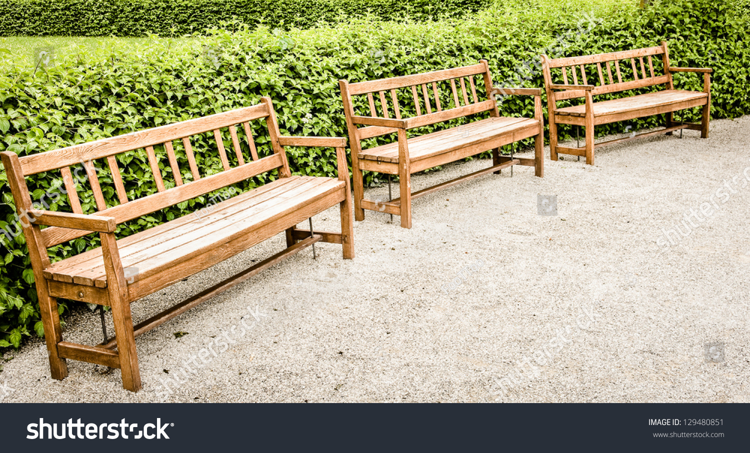 Wooden Park Benches At A Park Stock Photo 129480851 Shutterstock
