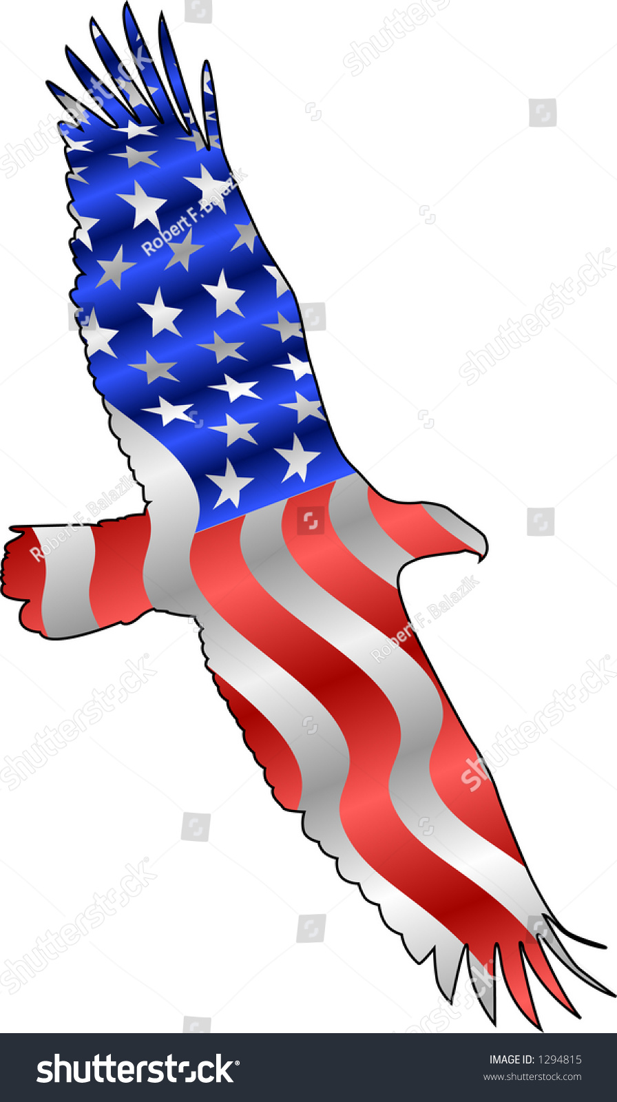 Vector Silhouette Graphic Depicting American Flag Stock Vektorgrafik