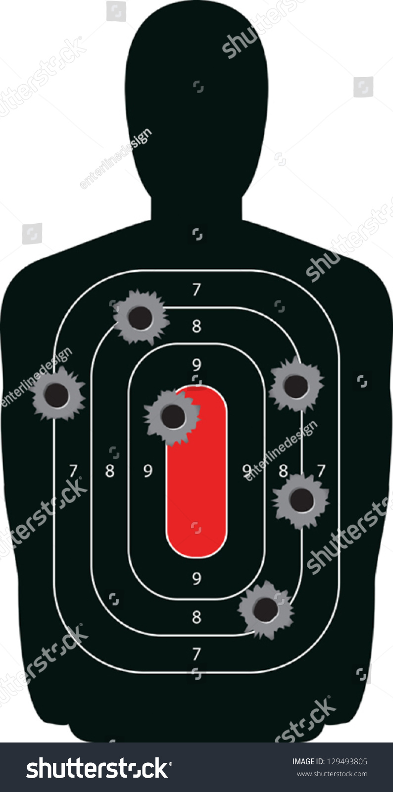 Indoor shooting range silhouette paper target shot full of bullet