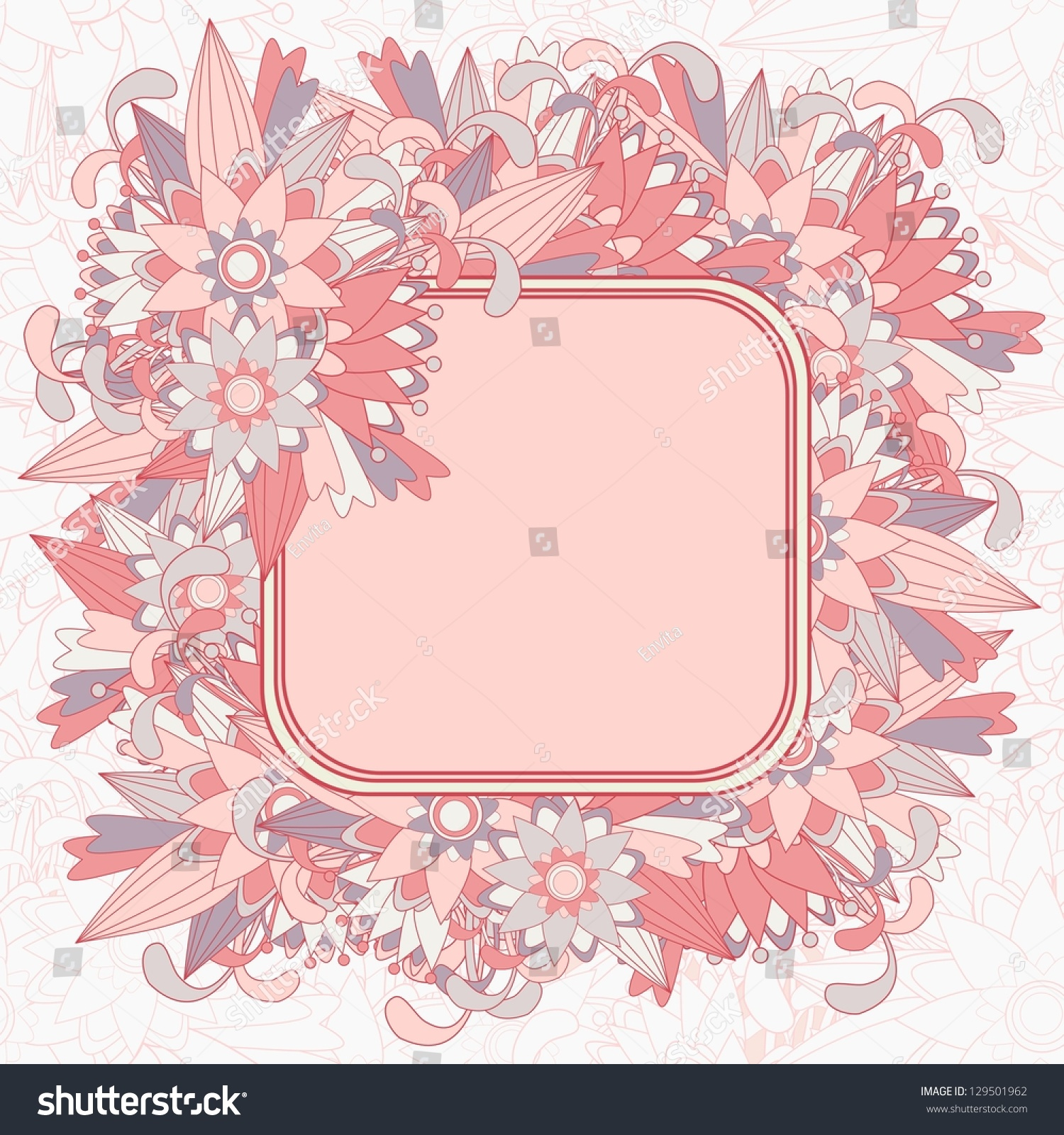 Beautiful Floral Background Framed Text Box Stock Vector Royalty