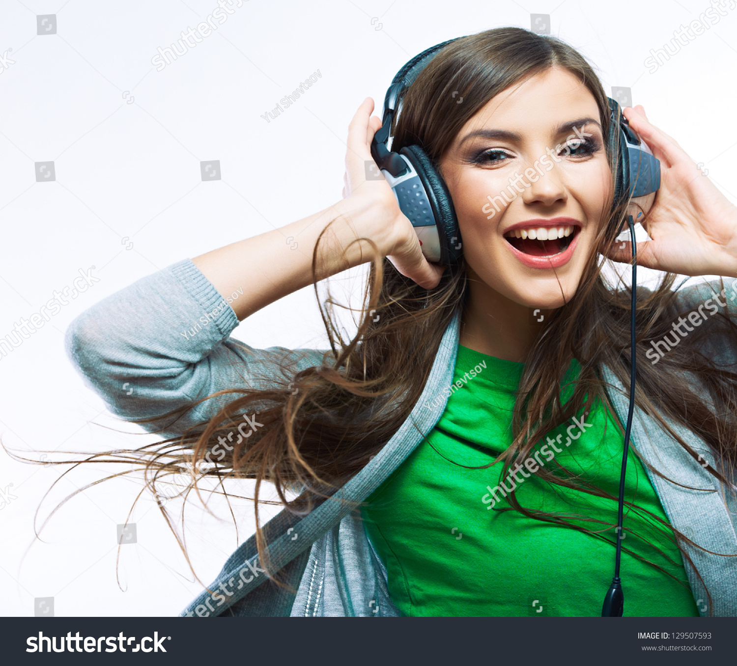 young woman headphones listening music music stock photo