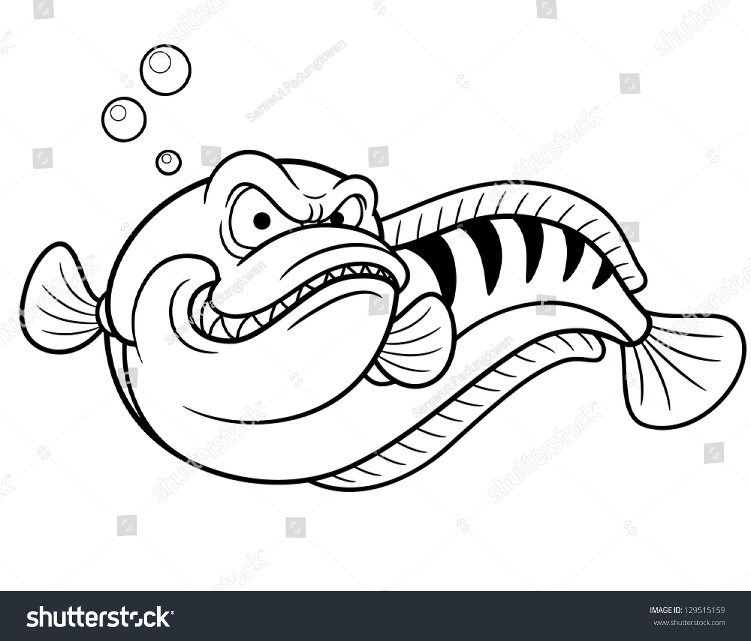 Vector Illustration Giant Snakehead Fish Coloring Stock ...