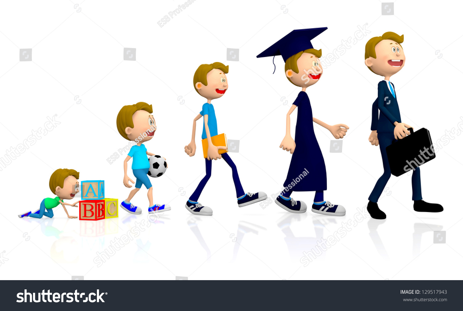 3d Evolution Man Different Stages His Stock Illustration 129517943 ...