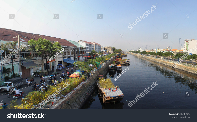Binh Dong Floating Flower Market.Ho Chi Minh City Vietnam February Stock Photo Edit Now 1295180845