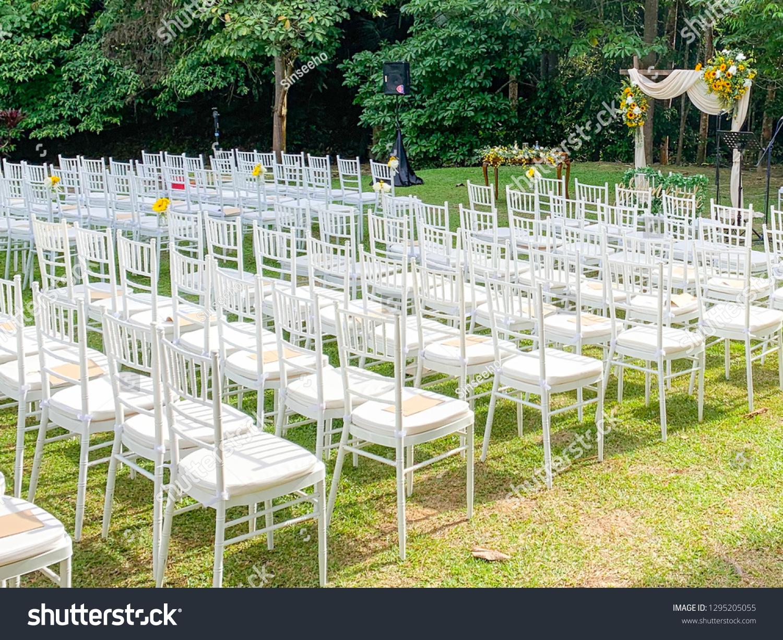 Garden Wedding White Chairs Stock Photo (Edit Now) 8