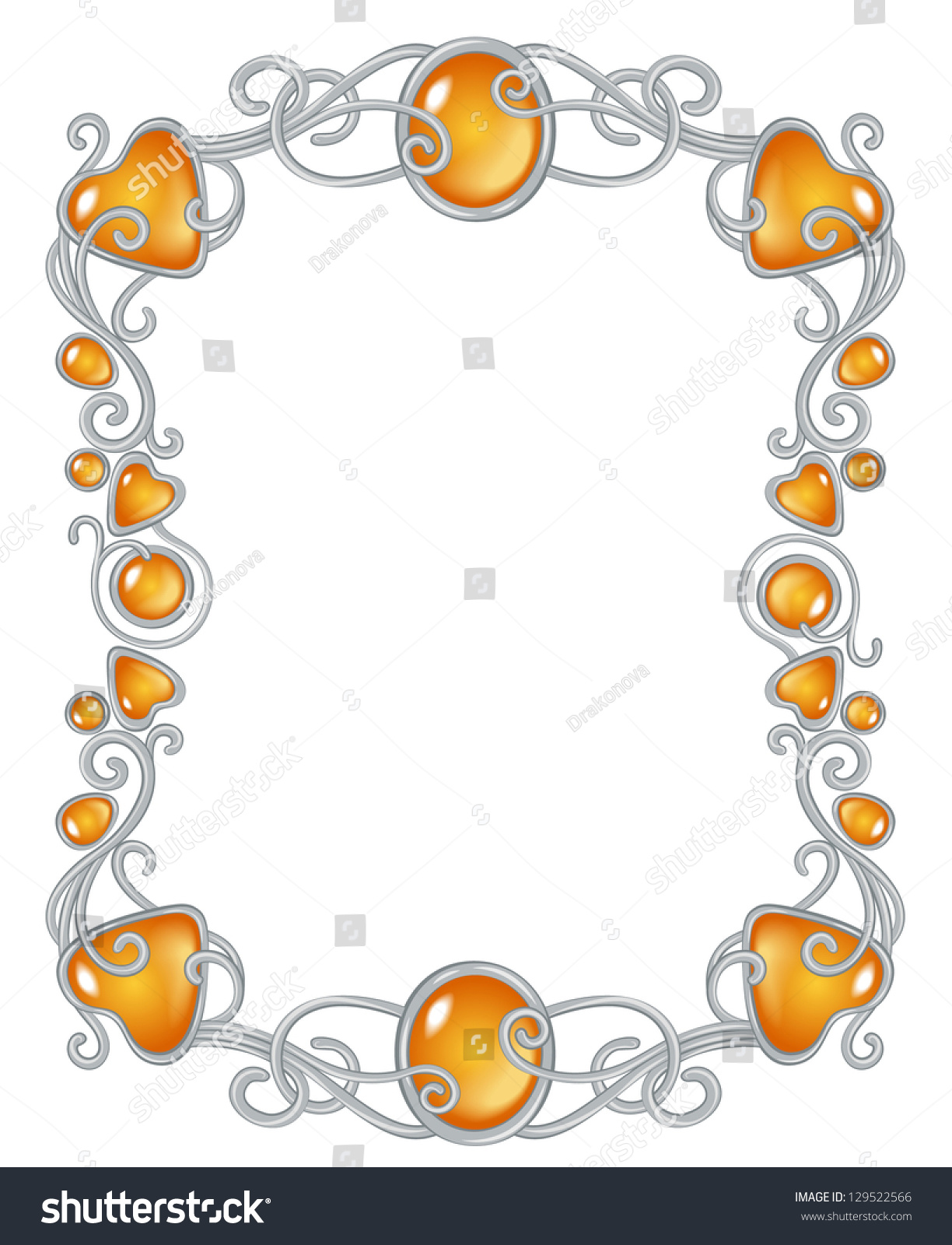Royalty-free Fantasy jewel frame template, silver… #129522566 Stock ...
