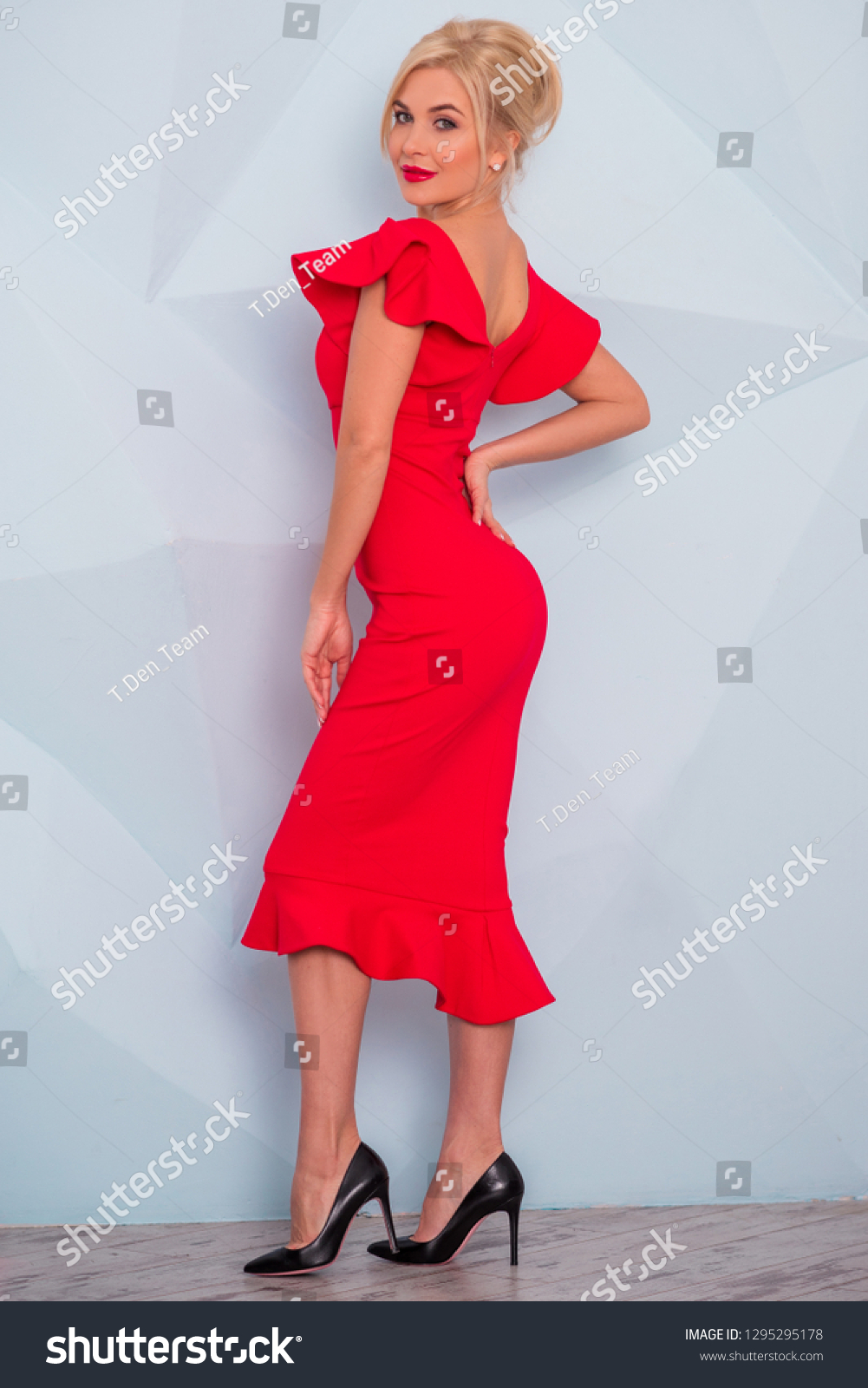 Lady Red Classical Fashionable Midi Dress Stock Photo (Edit