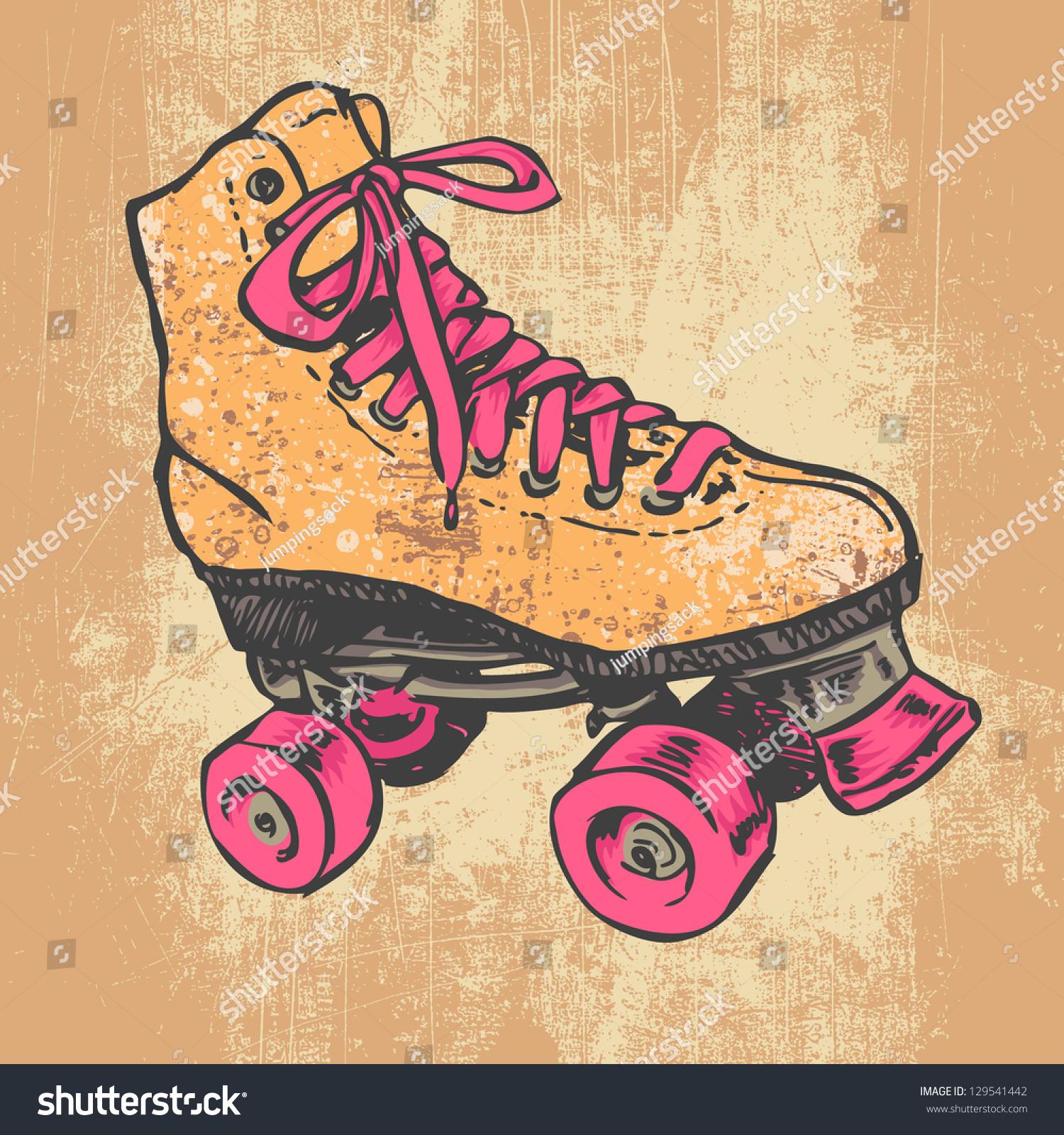 Retro roller skate grunge texture background stock vector for Imagenes retro vintage