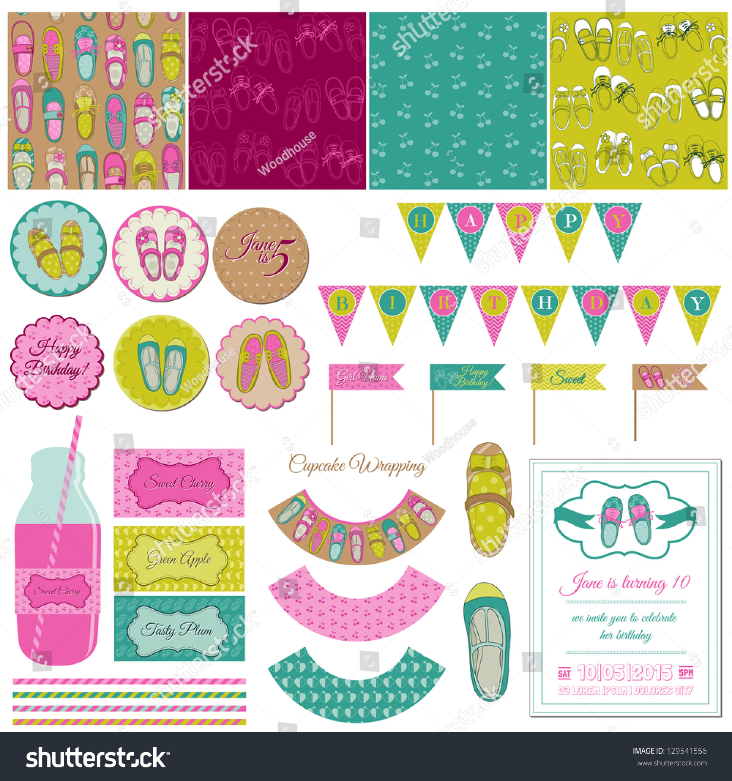 How to scrapbook for baby girl - Baby Girl Shoes Party Set For Birthday Decoration Scrapbook In Vector
