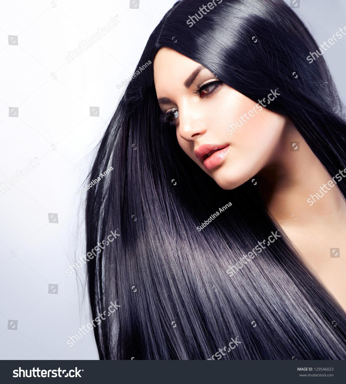 Hair Beautiful Brunette Girl Healthy Long Stock Photo