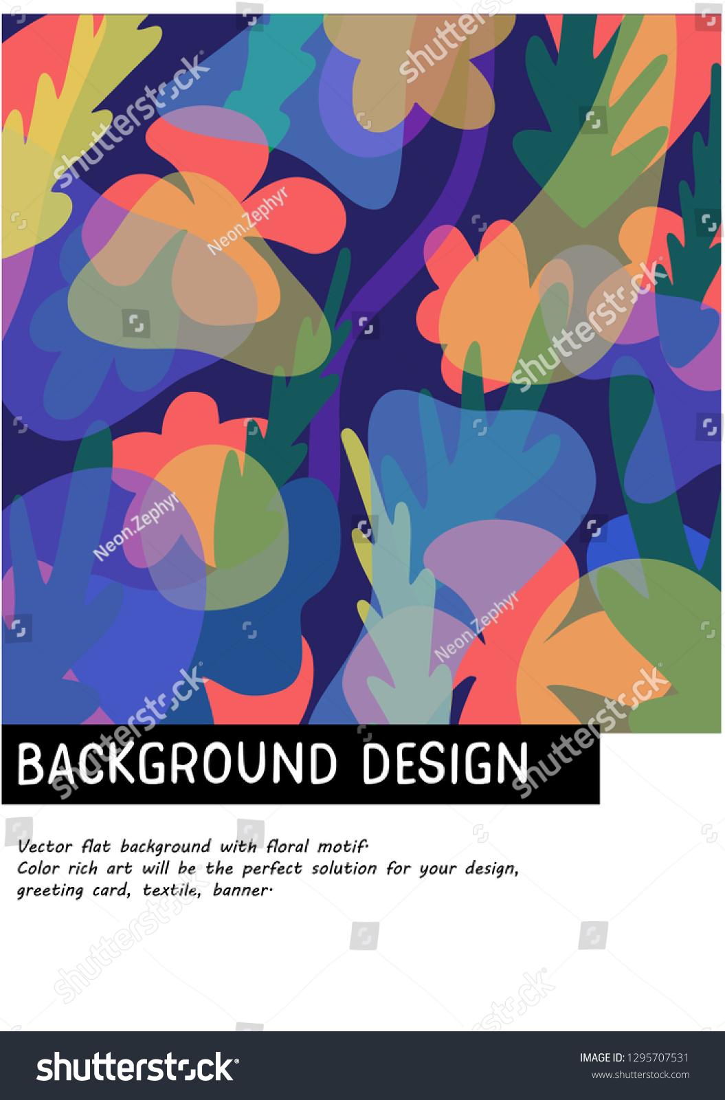 Vector Flat Background Floral Motif Color เวกเตอร์สต็อก (ปลอดค่า