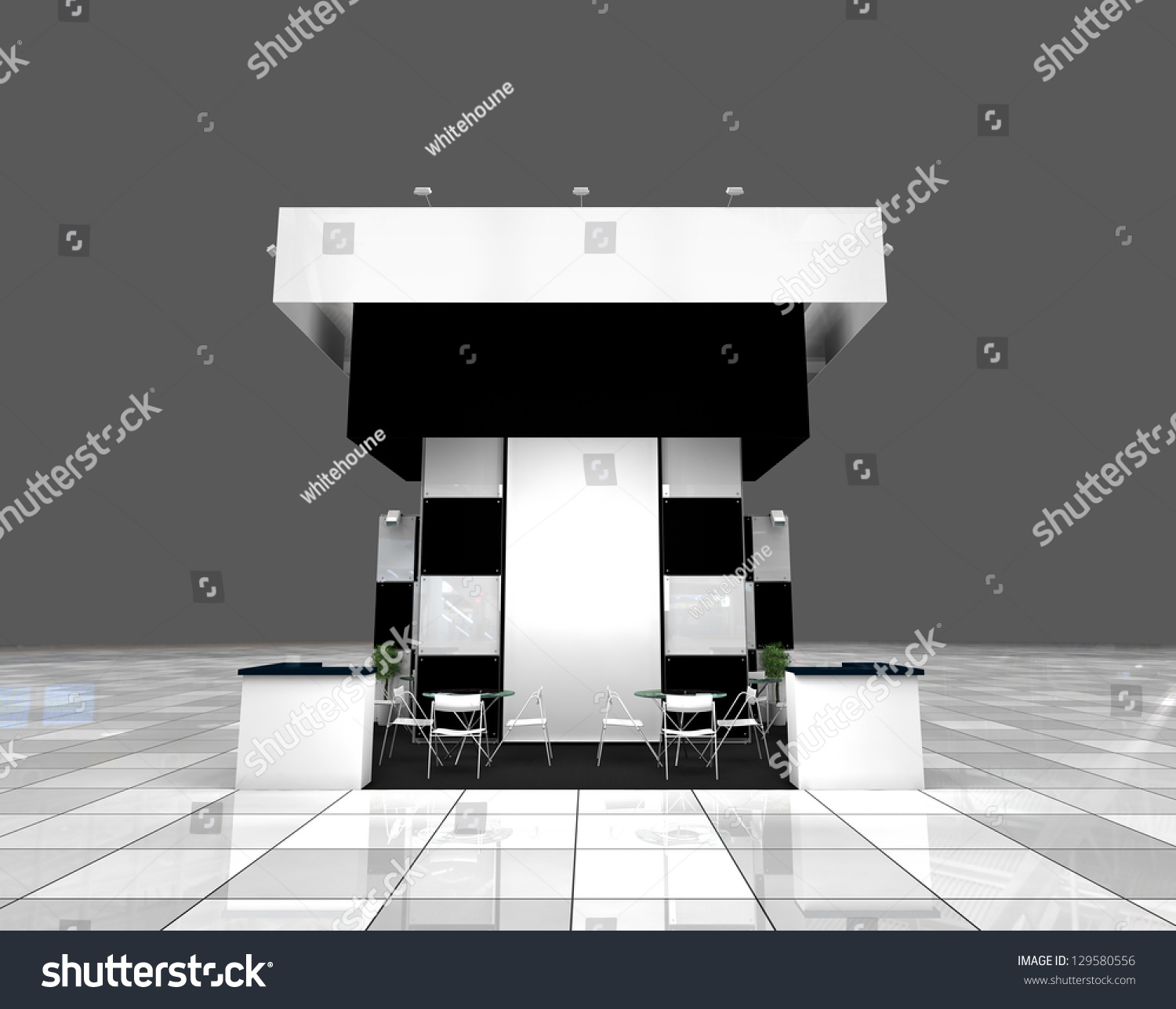 Modern Exhibition Stand Design : Modern exhibition black and white stand design project