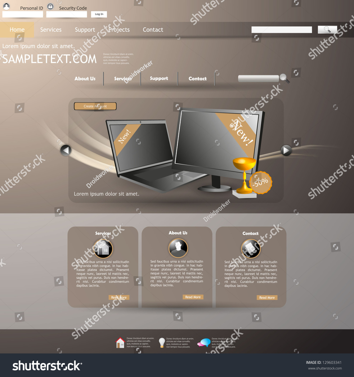 Business website template vector computer store stock vector business website template vector computer store theme flashek Choice Image