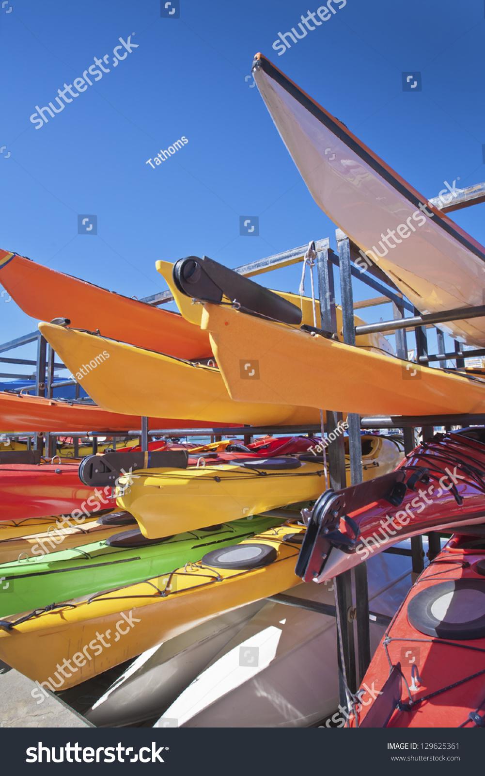 Canoe storage at lake harbor.
