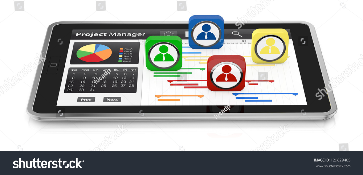 One tablet pc gantt chart businessman stock illustration 129629405 one tablet pc with a gantt chart and businessman icons 3d render ccuart Gallery